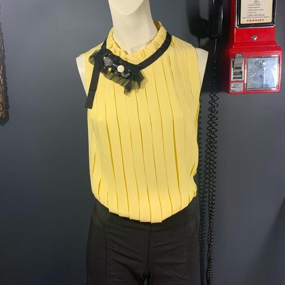Robert Rodriguez yellow silk sleeveless blouse